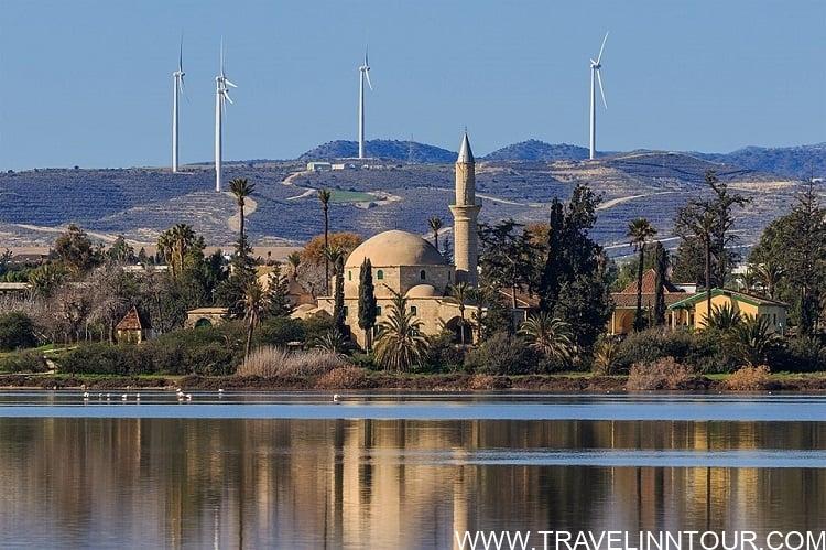 Hala Sultan Tekke Mosque at the Salt Lake in Larnaca Cyprus